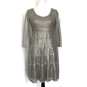 Ann Klein Eyelet Lace Long Sleeve Dress Size 12P